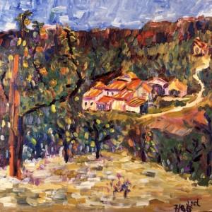 Eygalière, le champs d'abricots