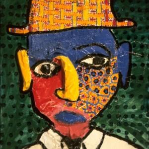 Homme ayant un chapeau à l'intérieur de la tête 55x46